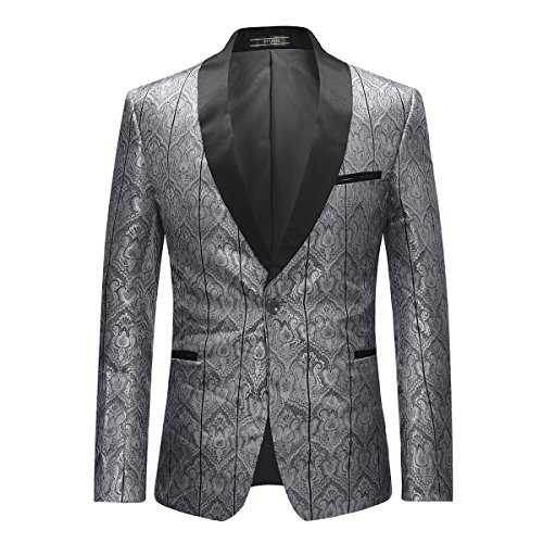 YFFUSHI Men's Stylish Floral Suit Blazer Slim Fit Shawl Collar Gold/Sliver Dinner Jacket