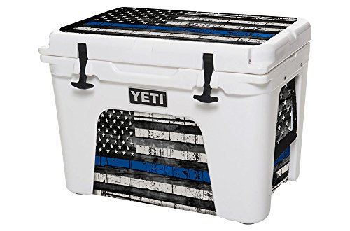 USA Tuff Thickest & Toughest Wrap 24Mil Cooler Accessories Decal for YETI 35QT Tundra Lid and Insert Kit – USA Blue Line Flag