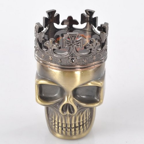 VALYRIA Herb Spice Weed Tobacco Grinder Crown - King Skeleton Skull Design