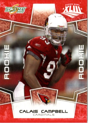 2008 Score SuperBowl Red Parallel Edition Football Rookie Card #370 Calais - Rookie Campbell Card
