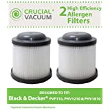 2 Black & Decker PVF110 Replacement Filters Designed To Fit Black & Decker PVF110, PHV1210, PHV1810; Compare To Black & Decker Part # 90552433 90552433-01; Designed and Engineered by Crucial Vacuum