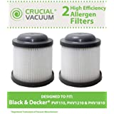 2 Washable & Reusable Filters for Black & Decker PVF110, PHV1210, PHV1810 Vacuums; Compare to Black & Decker Part No. 90552433; Designed & Engineered by Think Crucial