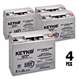 12V 22Ah Deep Cycle AGM / SLA Battery for Wheelchairs Scooters Mobility UPS & Solar - 4 Pack - Genuine KEYKO - Nut & Bolt Terminal
