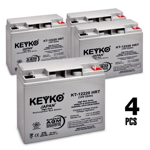 12V 22Ah Deep Cycle AGM / SLA Battery for Wheelchairs Scooters Mobility UPS & Solar - 4 Pack - Genuine KEYKO - Nut & Bolt Terminal by KEYKO