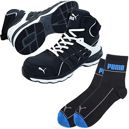 PUMA(プーマ) 安全靴 ヴェロシティ ミッド 25.5cm ブラック×ホワイト PUMA ソックス 靴下付 63.342.0  B07QL5MFQB