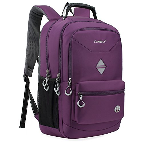 CoolBELL 18.4 Inch Backpack Laptop Bag Travel Rucksack Water-Resistant Hiking Knapsack Protective Day Pack Fits 15-18.4 Inch Laptop for Dell/HP/Lenovo/MacBook/Acer/Women (Purple)
