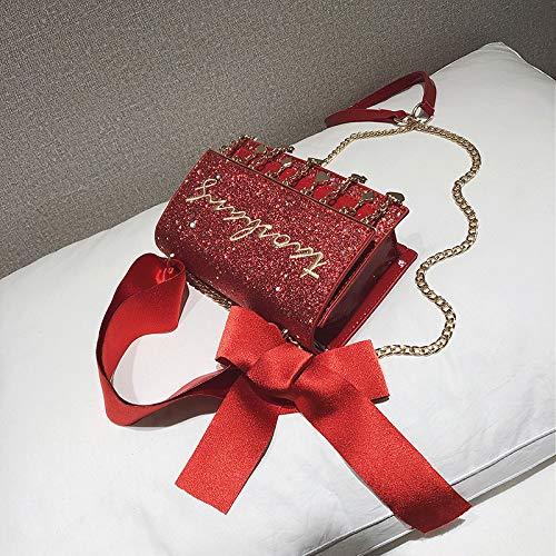 Petit de Paillettes Filles Sac Petit Sac du WSLMHH Super Messager Sauvage à Sac Rouge Paquet bandoulière carré feu coréenne bandoulière Version vU7gxqxd