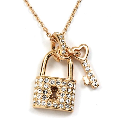 FC JORY Rose Gold Plated Clear Crystal Key Lock Heart Love Charm Pendant Chain Necklace ()