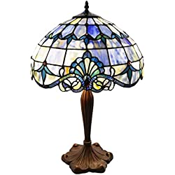 Tiffany Style Stained Glass Table Lamp: 24 Inch Victorian Style Colorful Allistar Accent Lamp with Vintage Bronze Base and Sea Shell Shade - High-End, Decorative Table Lamps for Small Home Decor - Blue