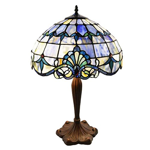 (Tiffany Style Stained Glass Table Lamp: 24 Inch Victorian Style Colorful Allistar Accent Lamp with Vintage Bronze Base and Sea Shell Shade - High-End, Decorative Table Lamps for Small Home Decor - Blue)