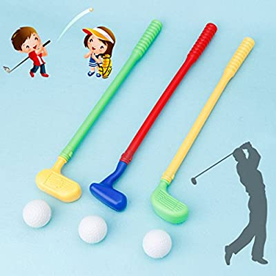 jinetor Sturdy Mini Golf Sports Game 3 Clubs+3 Ball Golf Club Toys Outdoor Toy Kids Random Color: Home & Kitchen