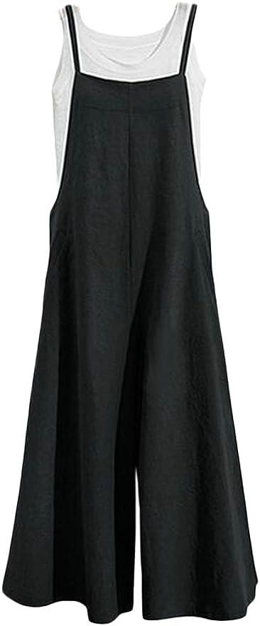 Fubotevic Women Jumpsuit Romper Pure Color Slim Fit Classic Overalls
