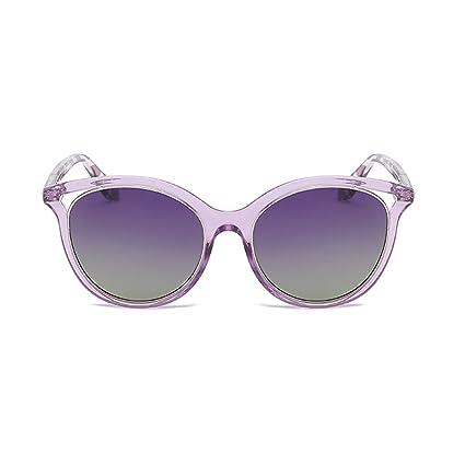 YUBIN Gafas De Sol Playa Gafas De Sol Mujer Moda Cara Redonda Rosa Transparente Gafas Polarizadas