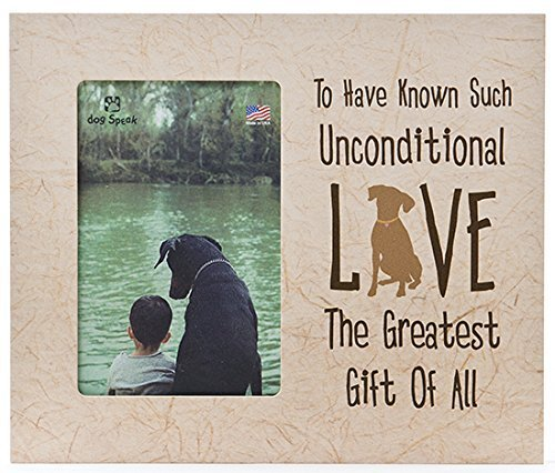 Bone Frame Dog Picture - Unconditional Love Dog Vertical Distressed Wood Picture Frame 4x6