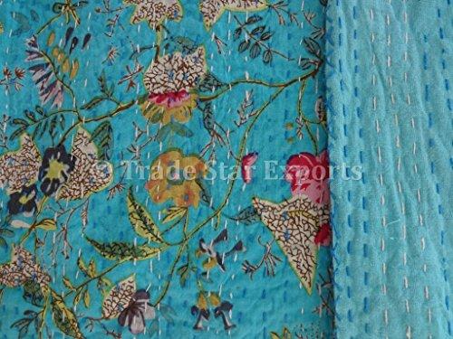 Handmade Cotton Kantha Quilt, Paradise Floral Printed Bedspread, Queen Size, Reversible Kantha Throw, Designer Kantha
