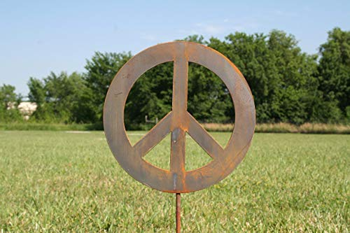 Metal Peace Sign Garden Stake, size small -