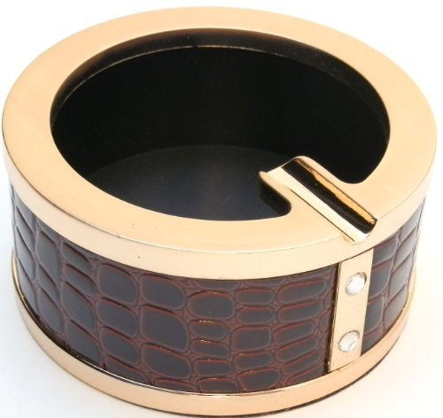 Leather Modern Style Ash Tray - Gold Trim Endings