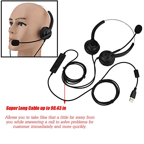 USB Skype Headset, Hands-Free Noise Cancelling Binaural Headset with Microphone & Mute Button,Earmuffs Support 360°Rotation for Chat, Call Center, Online Conference, Webcam, Music, Mac PC Cellphone by Eboxer (Image #2)