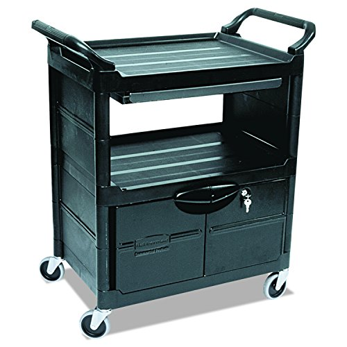 Rubbermaid Commercial Products 3 Shelf - Rubbermaid Commercial Plastic Service and Utility Cart with Cabinet and Sliding Drawer, Black (FG345700BLA)