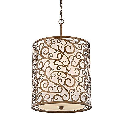 Burnished Gold Pendant - 6-Light Burnished Gold Pendant with Light Beige Fabric Shade