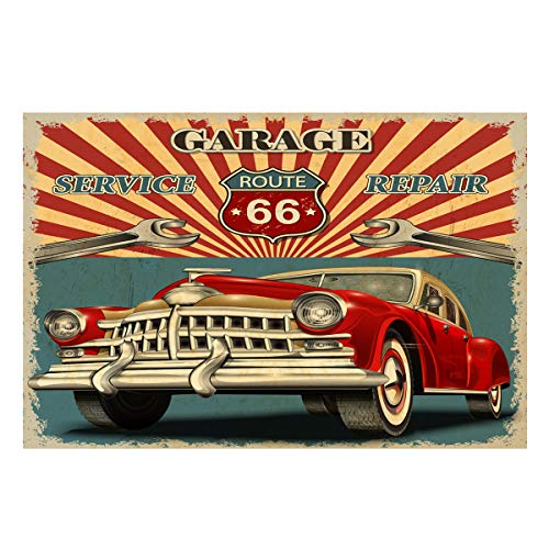 (Monroda Aquarium Background Fish Tank Background,Garage Route 66 Classic Cars 24.4 x)