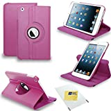 Apple iPad 2/3/4 - 360 Degree Rotating Leather Wallet Flip Stand Case Cover + Screen Protector ( Pink 360 )