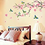 Pink Peach Blossom Flowers Wall Decal Home Sticker Paper Removable Living Dinning Room Bedroom Kitchen Art Picture Murals DIY Stick Girls Boys kids Nursery Baby Playroom Decoration