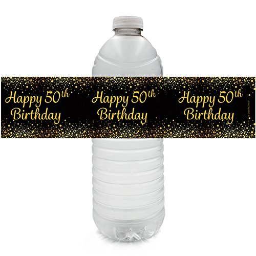 Black and Gold 50th Birthday Party Water Bottle Labels (24 Count)