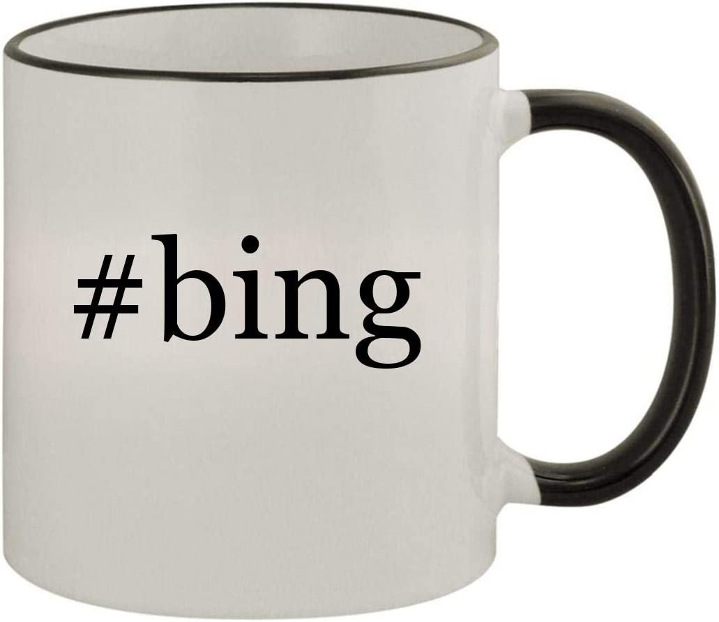 #bing - 11oz Ceramic Colored Rim & Handle Coffee Mug, Black