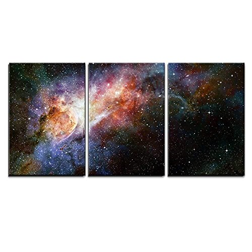 Multi Colored Beautiful (wall26 - 3 Piece Canvas Wall Art - Beautiful Multicolored Galaxy - Modern Home Decor Stretched and Framed Ready to Hang - 16