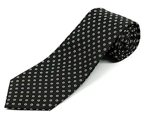 Black Mens Necktie Dots (100% Silk Extra Long Black Necktie with Polka Dots (63 Inches Long, 3.75 Inches Wide))
