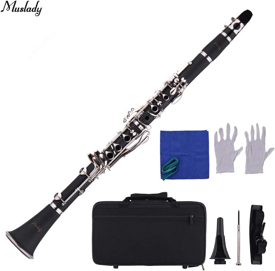 Kalaok Instrumento de viento con boquilla clarinete Bb de 17 teclas estándar Estuche de transporte Guantes Paño de limpieza Destornillador para clarinete: Amazon.es: Instrumentos musicales