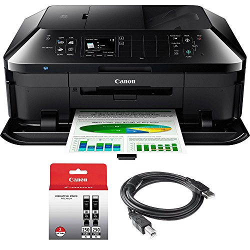 Canon PIXMA MX922 Wireless Inkjet Office All-In-One Printer + 1 Year Extended Warranty with Genuine Canon Ink Bundle Includes PGI-250 BK,CLI-251,4 Inks + Outlet Adapter + Printer (Canon Copy Tray)