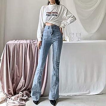 QMGLBG Herbst und Winter Neue europäische und amerikanische Stil hohe Taille Stretch Horn Jeans Frauen, schlanke Lange Beine einfarbige Jeans Frauen: Küche & Haushalt