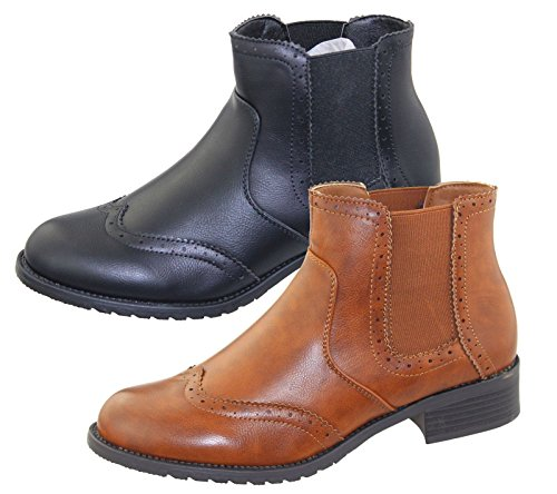 Womens Ankle Boots High Top Ladies Casual Flat Pull On Chelsea Work Shoes Size Tan HETL9yUvQ