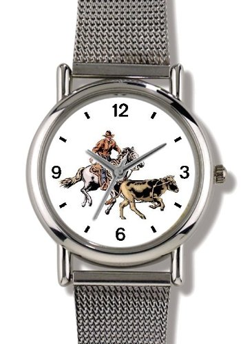 Horse and Rider Chasing Calf in Calf Wrestling Horse - WATCHBUDDY ELITE Chrome-Plated Metal Alloy Watch with Metal Mesh Strap-Size-Small ( Standard Women's Size ) by WatchBuddy