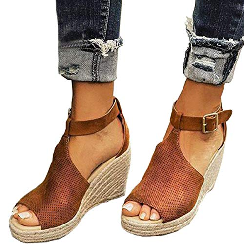 Ru Sweet Women's Espadrille Wedges Sandals Peep Toe PU Belt Buckle Blocking Adjustable High Platform Ankle Strap Summer Shoes Brown