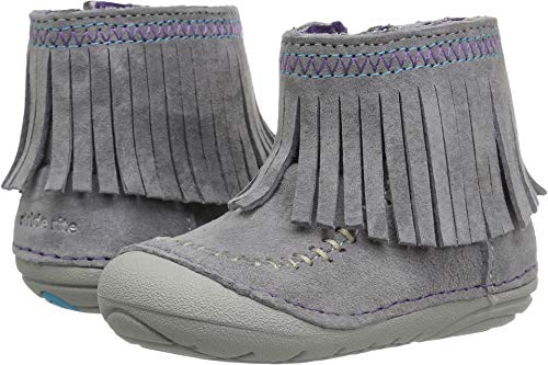 Stride Rite Girls' Soft Motion Tasha Fashion Boot, Grey, 4 Medium US Toddler (Leather Girl Boots)