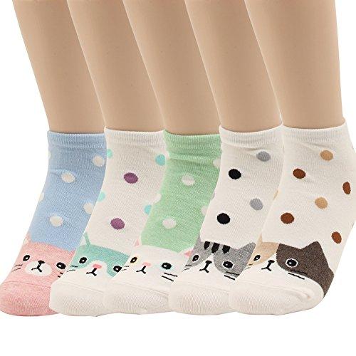 WOWFOOT Women Girls Sweet Animal Zoo Cute Funny Novelty Crew Dog Cat Owl Penguin Socks (Lovey Cat-5 - Children Diabetic Socks
