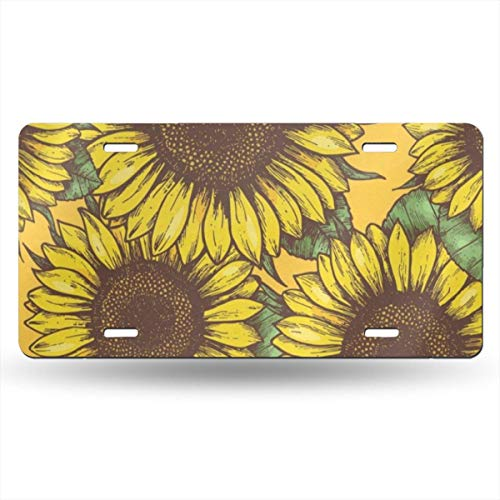 Pingshoes Summer Sunflowers License Plate Frames Cover for Car Custom Aluminum Metal License Plate Cover with 4 Holes Auto Car Tag 6