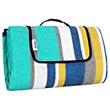 Large Picnic Blanket Waterproof Padded, Updated 79x79, Outdoor Blanket for Camping Ground Beach Hiking Grass Travel t (Blue Grey Yellow Stripe)