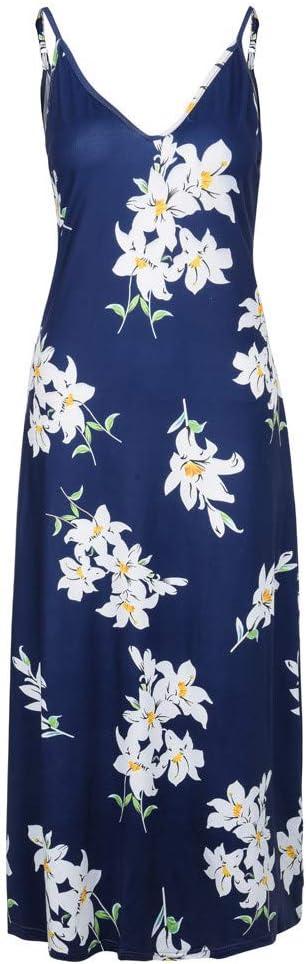 Fine Womens Summer V-Neck Sleeveless Loose Beach Plain Maxi Dress Floral Print Casual Long Dresses with Pockets