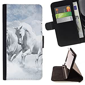 For Samsung Galaxy S5 V SM-G900 White Horses Sky Nature Clouds God Style PU Leather Case Wallet Flip Stand Flap Closure Cover