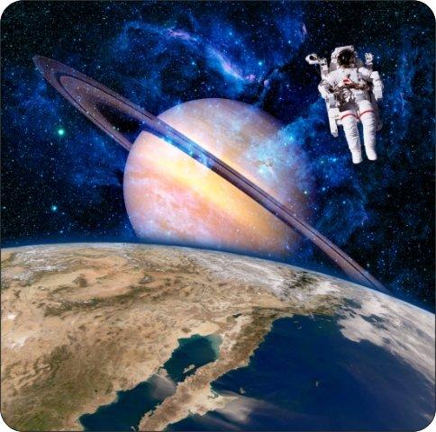 コルク裏地付きコースター4枚セット 宇宙飛行士宇宙飛行士 宇宙飛行士 サターンプラネット リアルな背景   B07F1DKHPG