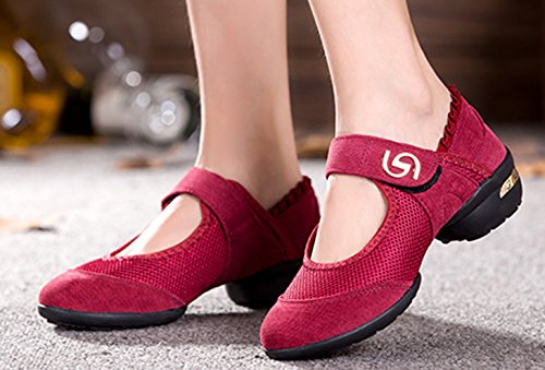 VECJUNIA Ladies Split Sole Practice Breathable Fitness Hook and Loop Dance Shoes Red 0Md7jU
