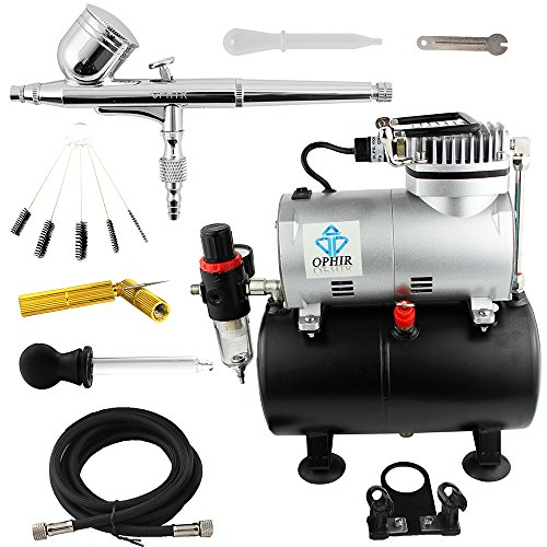 OPHIR Dual Action Airbrush Kit with Air Tank Compressor & Cleaning Tools for T-shirt Painting Tanning Hobby with Cleaning Brush