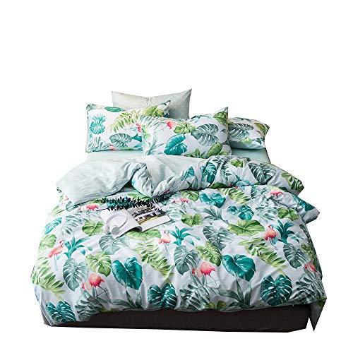 AMZTOP 【Latest Arrival】 Comforter Cover Queen Tropical Duvet Cover Green Botanical Duvet Cover Full Leaves Comforter Cover Bed Set Lightweight Soft for Kids Children Boys Girls,NO Comforter NO Sheet