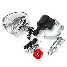 ILS - 6V 3W Halogen Bulb Motorized Friction Generator Dynamo Head Taillight w/ Accessories