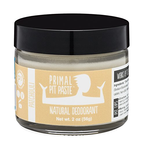 PRIMAL PIT PASTE All Natural Patchouli Deodorant | 2 Ounce Jar | NO Aluminum, NO Parabens| For Women and Men of All Ages | Non-GMO, Cruelty Free, Earth Friendly, BPA Free - Patchouli Deodorant Stick