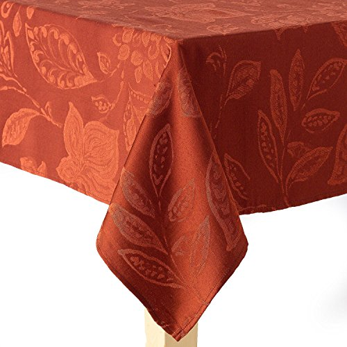 Harvest Tablecloth - Harvest Season Leaf Pattern Woven Fabric Tablecloth - Chili - 60